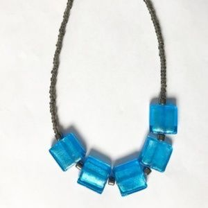 Jewelry - Blue glass and hematite bead necklace